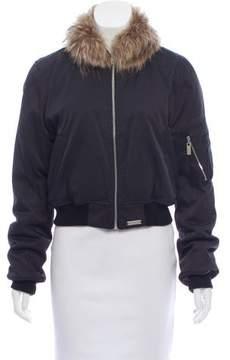 Barbara Bui Fur-Trimmed Bomber Jacket