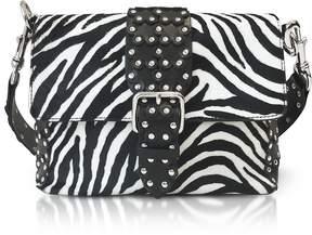 RED Valentino Flower Puzzle Zebra/Black Leather Shoulder Bag