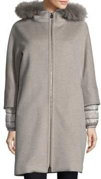 Cinzia Rocca Fox Fur-Trim Mixed Media Coat