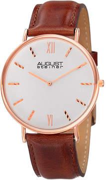 August Steiner Mens Brown Strap Watch-As-8166rgbr