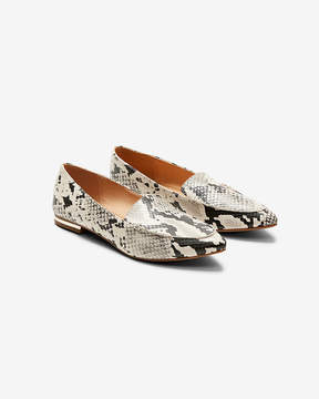 Express Snake Print Pointed Toe Loafers