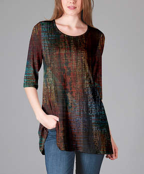 Lily Red & Blue Watercolor Scoop Neck Tunic - Women