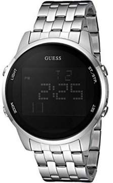 GUESS U0786G1 Men's Silver Steel Bracelet With Black Digital Dial Watch NWT