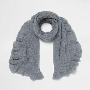 River Island Womens Grey frill hem knit scarf