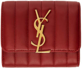 Saint Laurent Red Vicky Compact Trifold Wallet