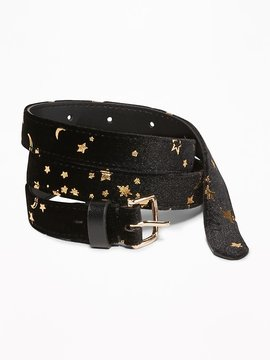Old Navy Skinny Star-Print Velvet Belt for Women
