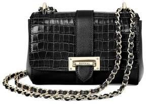 Aspinal of London Micro Lottie Bag In Deep Shine Small Black Croc