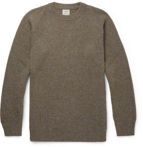 Kent & Curwen Ribbed Mélange Camel Hair Sweater