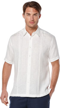 Cubavera 100% Linen Short Sleeve Box Pleat Tuck With Embroidery