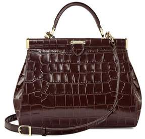 Aspinal of London Small Florence Frame Bag In Deep Shine Amazon Brown Croc