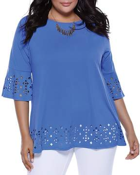 Belldini Laser-Cut Bell-Sleeve Top - 100% Exclusive
