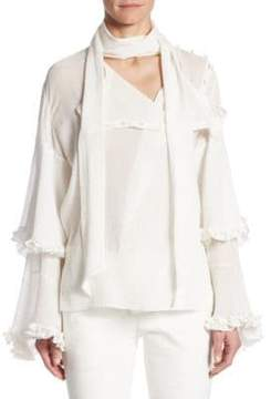 Chloé Ruffled V-Neck Blouse