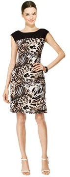 Connected Apparel Leopard Printed Cap Sleeve Sheath Dress.