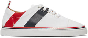 Thom Browne White Stripe Straight Toe Cap Sneakers