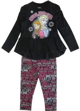 Disney Little Girls Black Frozen Elsa Anna Letter Print 2 Pc Legging Set 2-4T