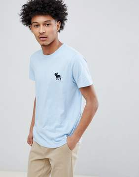 Abercrombie & Fitch Large Moose Logo Crewneck T-Shirt in Light Blue