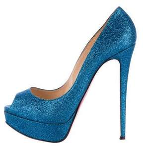 Christian Louboutin Glitter Lady Peep Pumps