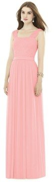 Alfred Sung Women's Pleat Chiffon Knit A-Line Gown With Belt
