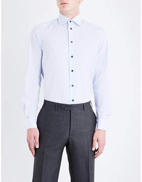 Eton Grid-patterned contemporary-fit cotton-poplin shirt