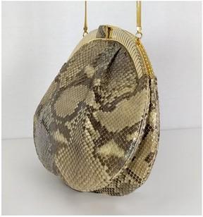 Judith Leiber Snakeskin Frame Clutch w/ Strap