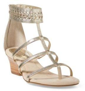 Ralph Lauren Meira Metallic Wedge Sandal Platino 5.5