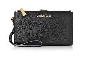 Michael Kors Adele Black Pebble Leather Smartphone Wristlet - BLACK - STYLE