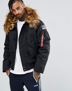 Alpha Industries Polar Parka Bomber Jacket Detachable Faux Fur in Black