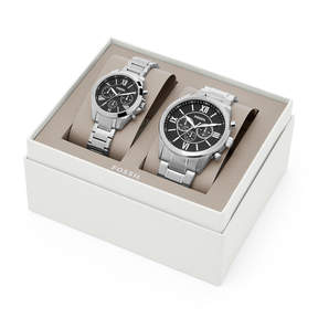 Fossil His and Her Chronograph Stainless Steel Watch Gift Set