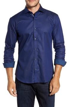 Bugatchi Men's Trim Fit Pinstripe Sport Shirt