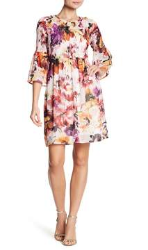 ECI 3/4 Length Sleeve Smocked Bodice Dress