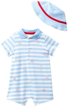 Little Me Baseball Romper & Hat Set (Baby Boys)