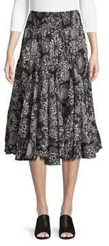 Context Pleated Floral Midi Skirt