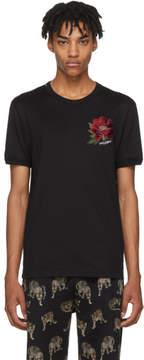 Dolce & Gabbana Black Flower Patch T-Shirt