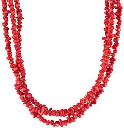 American West 19 Three-Strand Red Coral Beaded