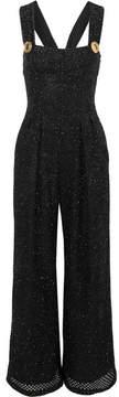 Emilia Wickstead Aden Metallic Open-knit Jumpsuit - Black