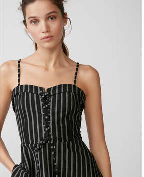 Express stripe lace-up corset front top