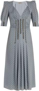 Bottega Veneta Graphic-print stud-embellished silk-blend dress