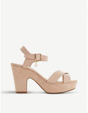 Dune Ilya cross vamp suede heeled sandals