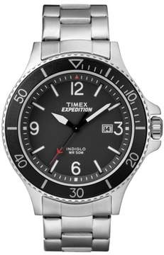 Timex Men's Expedition Ranger Silver/Black Watch, Stainless Steel Bracelet
