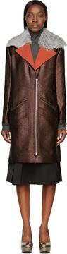 Rodarte Brown Shearling Collar Metallic Coat