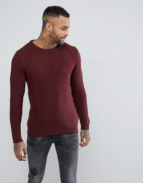 Pull&Bear Waffle Knit Sweater With Round Neck In Burgundy