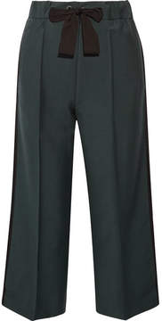 Fendi Cropped Mohair And Wool-blend Wide-leg Pants - Army green