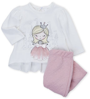 Petit Lem Newborn Girls) Two-Piece Princess Ruffle Top & Quilted Pants Set