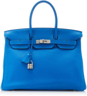Hermes Vintage by Heritage Auctions 35cm Blue Zanzibar Clemence Leather Birkin Bag