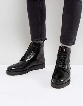 Fred Perry X George Cox Creeper Mid Leather Boots in Black
