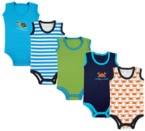 Luvable Friends White Crab Bodysuit Set - Newborn & Infant