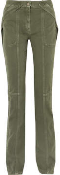 Valentino Cotton-twill Straight-leg Pants - Army green