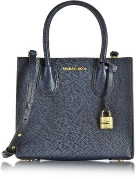 Michael Kors Mercer Medium Bonded-Leather Messenger/Tote - ADMIRAL - STYLE