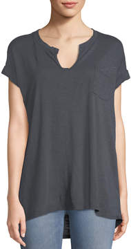 Allen Allen Split-Neck Roll-Sleeve Tee