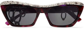 Acne Studios Dielle Cat-eye Python-effect Leather And Acetate Sunglasses - Burgundy